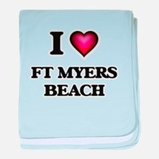 I love Ft Myers Beach Florida baby blanket