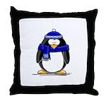 Blue Scarf Penguin Throw Pillow