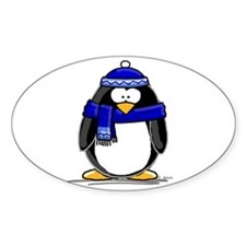 Blue Scarf Penguin Oval Decal