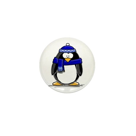 Blue Scarf Penguin Mini Button