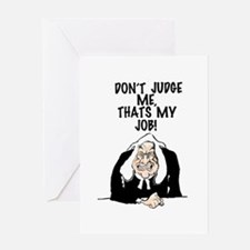 Cartoon illustration of a judge. Greeting Cards