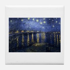 Cute Starry night over the rhone Tile Coaster