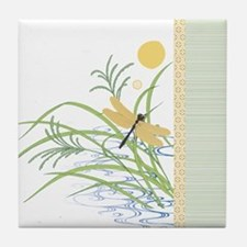 Dragonfly in Rice Field Tile Coaster