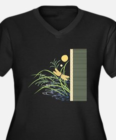Dragonfly in Rice Field Women's Plus Size V-Neck D
