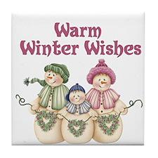 Snowman Family WWW Tile Coaster