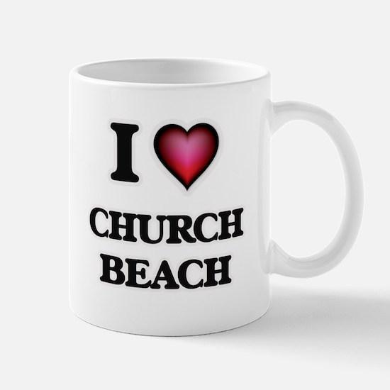 I love Church Beach Michigan Mugs