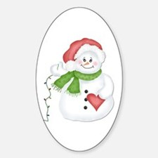 Snowman with Lights Oval Decal