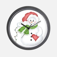 Snowman with Lights Wall Clock