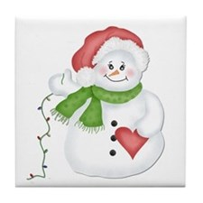 Snowman with Lights Tile Coaster