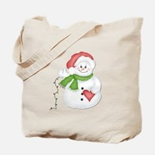 Snowman with Lights Tote Bag