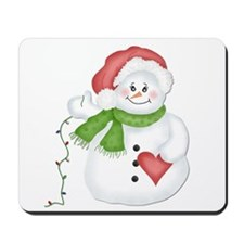 Snowman with Lights Mousepad