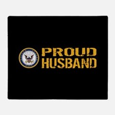 U.S. Navy: Proud Husband (Black) Throw Blanket