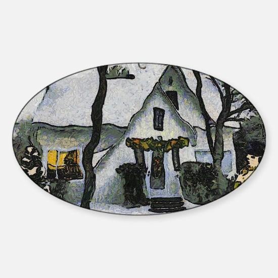 Cute Van gogh christmas Sticker (Oval)