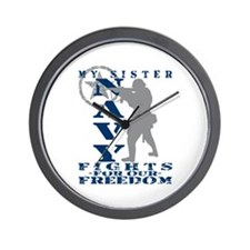 Sis Fights Freedom - NAVY Wall Clock