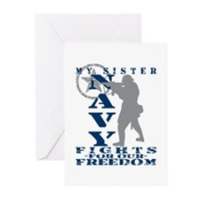Sis Fights Freedom - NAVY Greeting Cards (Pk of 10