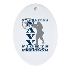 Grndma Fights Freedom - NAVY Oval Ornament