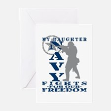 Dghtr Fights Freedom - NAVY Greeting Cards (Pk of