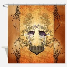 Cute ostrich couple with heart Shower Curtain