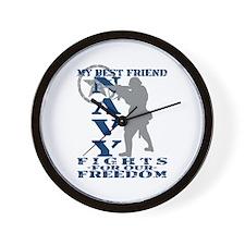 Best Friend Fights Freedom - NAVY Wall Clock