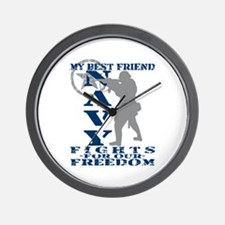Best Friend Fights Freedom - NAVY Wall Clock