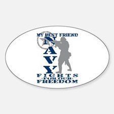 Best Friend Fights Freedom - NAVY Oval Decal