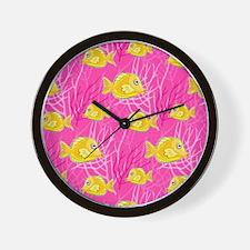 Yellow Tang in Pink Coral Wall Clock