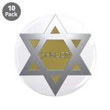 """Silver and Gold Jewish Star 3.5"""" Button (10 pack)"""