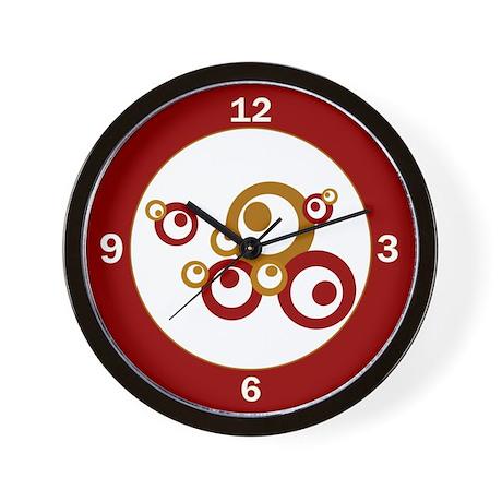 Retro Orange Circles Wall Clock