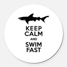 Sharks! Keep Calm and Swim Fast Round Car Magnet