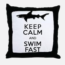 Sharks! Keep Calm and Swim Fast Throw Pillow
