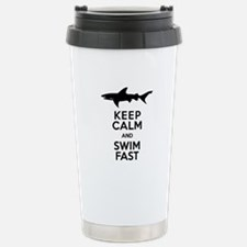 Sharks! Keep Calm and Swim Fast Travel Mug