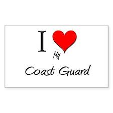 I Love My Coast Guard Rectangle Decal