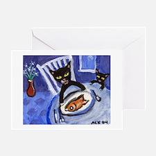 Black cat goldfish dinner Greeting Cards (Package
