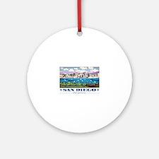 San Diego Skyline Round Ornament
