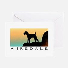 airedale terrier sunset cliff Greeting Cards (Pack