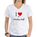 I Love My Cleaning Staff Women's V-Neck T-Shirt