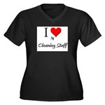 I Love My Cleaning Staff Women's Plus Size V-Neck