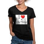 I Love My City Planner Women's V-Neck Dark T-Shirt
