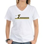Retro Wakeboarding Women's V-Neck T-Shirt