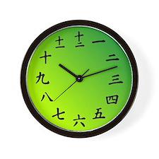 Gradient Green Japanese Kanji Wall Clock