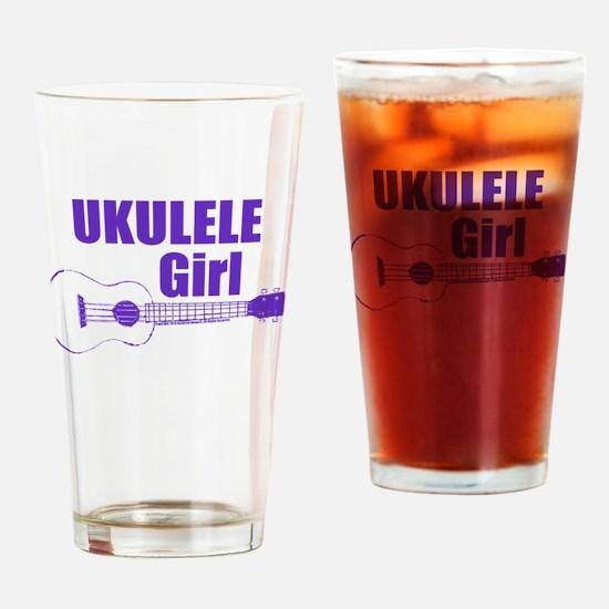 Girls Ukulele Drinking Glass