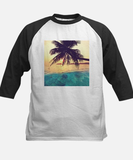 Tropical Beach Kids Baseball Jersey