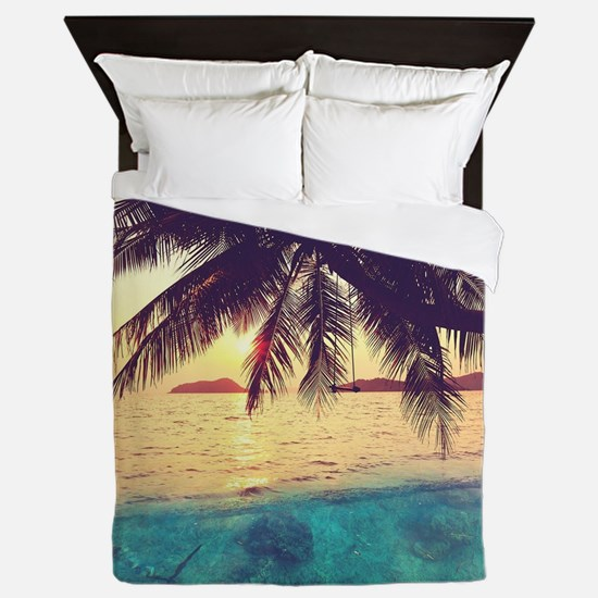 Tropical Beach Queen Duvet