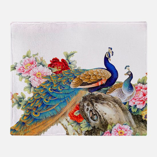 Traditional Chinese Peacocks Throw Blanket