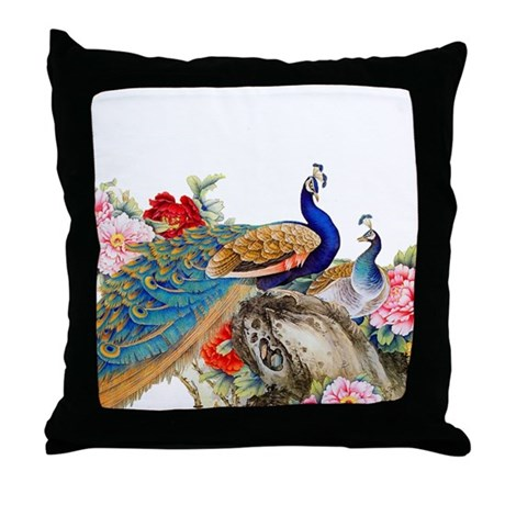 Traditional Chinese Peacocks Throw Pillow by Admin_CP124949411