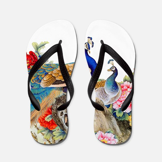 Traditional Chinese Peacocks Flip Flops