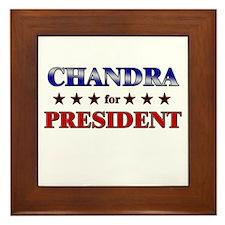 CHANDRA for president Framed Tile