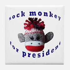 Sock Monkey for President Tile Coaster