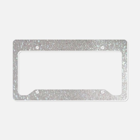 metalic pearl silver glitter License Plate Holder