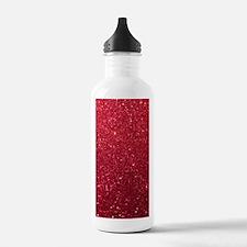 Girly Chic Red Glitter Water Bottle